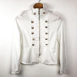 Qiromeng | White Button Full Zip Blouse Jacket S